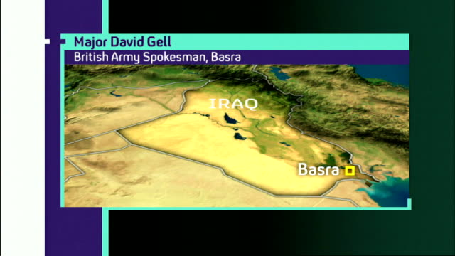 two british soldiers killed and three injured 144 british service personnel have now died in iraq graphic map of basra / major david gell phono - phono einzelwort stock-videos und b-roll-filmmaterial