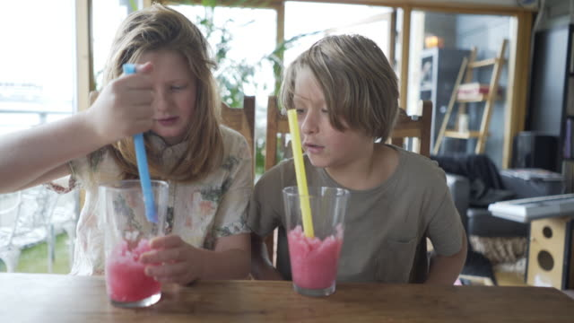 two brothers enjoying an ice cold drink. - long hair stock videos & royalty-free footage