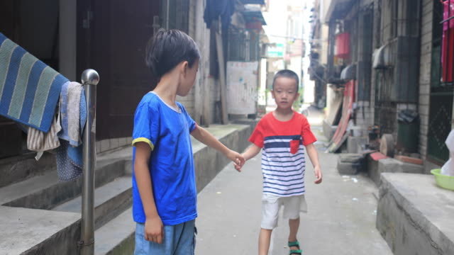 two brothers in the hutong - hutong alley stock videos & royalty-free footage