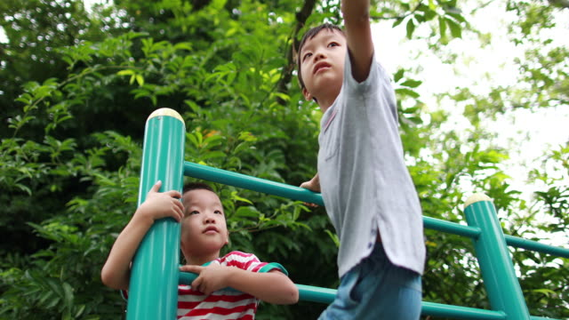 two brothers play in the park - climbing frame stock videos & royalty-free footage