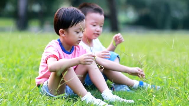 2 人の兄弟は公園で遊びました - 2歳から3歳点の映像素材/bロール