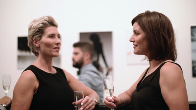 Two Business women in conversation and laughing with wine in a bar