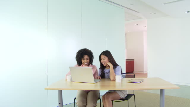two business women using laptop at office - mitarbeiterengagement stock-videos und b-roll-filmmaterial