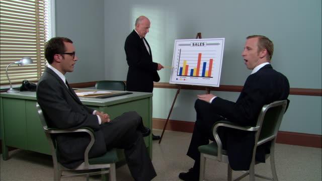 vídeos de stock e filmes b-roll de ms two businessmen in sales presentation with boss/ new york city - vestuário de trabalho formal