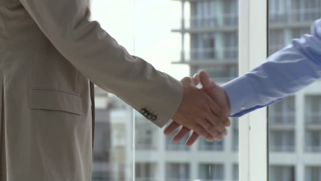 Two businessmen meeting in office, shaking hands, close up