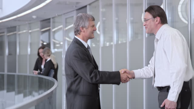 DS Two businessmen meeting in the corporate hallway