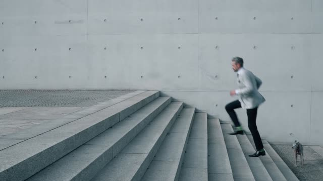 two businessmen running up on steps with dog - excitement stock videos & royalty-free footage