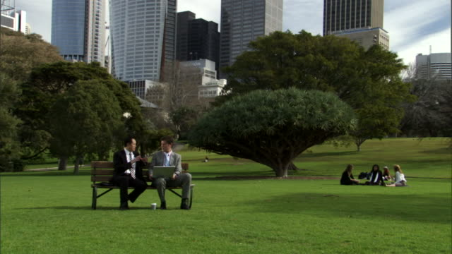 ws, two businessmen working on laptop in park, office buildings in background, sydney, australia - two people stock videos & royalty-free footage