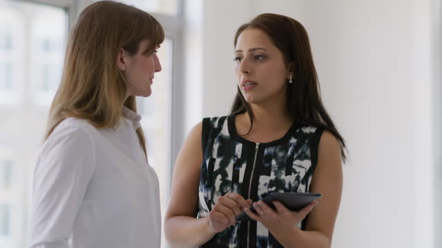 MS Two businesswomen discuss a project
