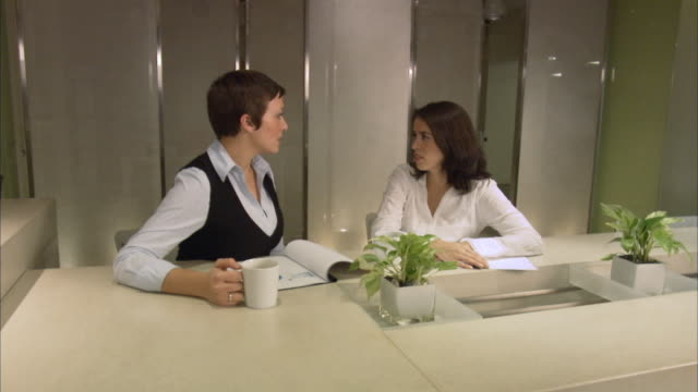 ms zi zo two businesswomen discussing on reports in board room, one holding coffee cup / new york city, new york, usa  - employee engagement stock videos & royalty-free footage