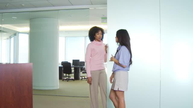 two businesswomen talking in office - dolcevita video stock e b–roll