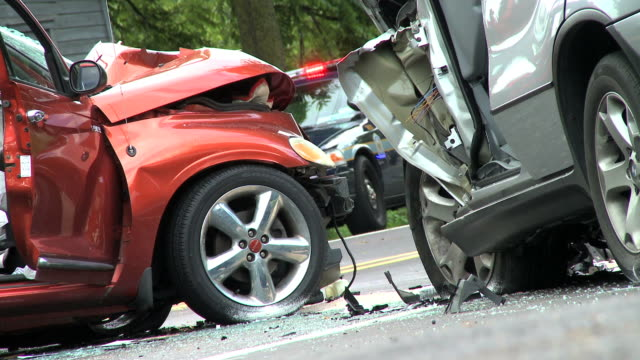two car accident - close up - accidents and disasters stock videos and b-roll footage