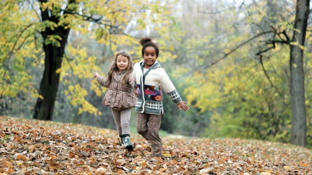 two carefree girls having fun while holding hands and running in autumn day at the park. slow motion. - female friendship stock videos & royalty-free footage