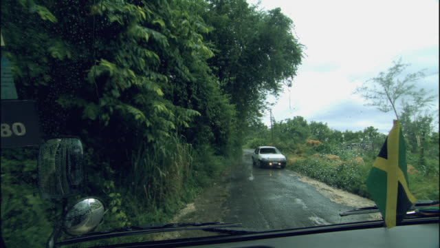 pov ws two cars passing while driving on narrow road in rain / columbus cove, jamaica - jamaica stock videos and b-roll footage