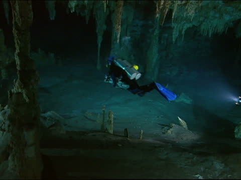 pan two cave divers swimming underwater - stalagmite stock videos and b-roll footage