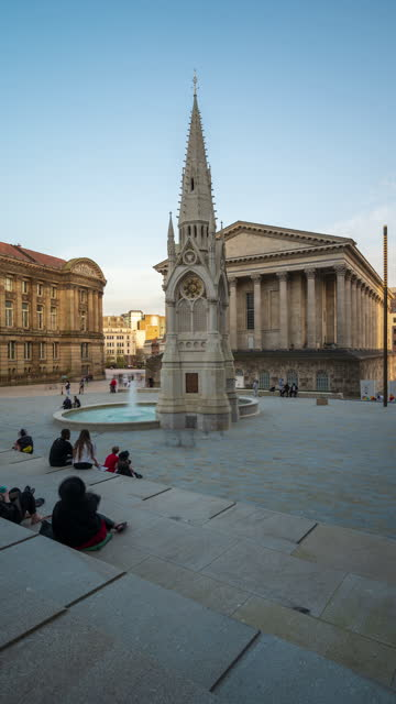 two chamberlain square and town hall in birmingham city centre - 4k time-lapse (vertical) - west midlands stock videos & royalty-free footage