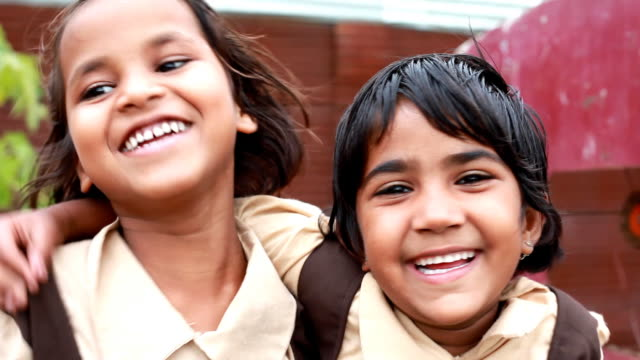 two cheerful playful little indian girls - thank you stock videos and b-roll footage