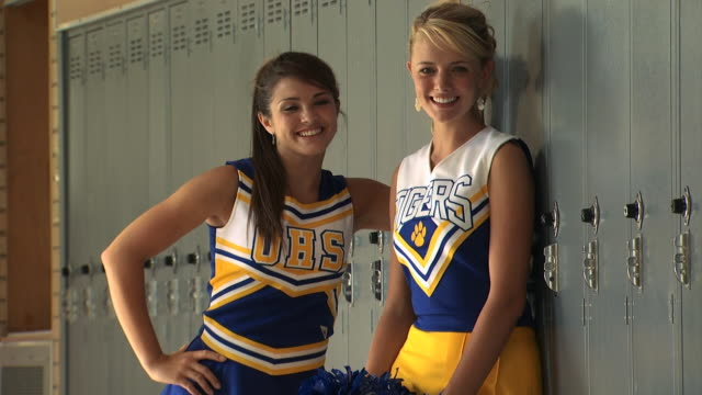 two cheerleaders - see other clips from this shoot 1148 stock videos & royalty-free footage