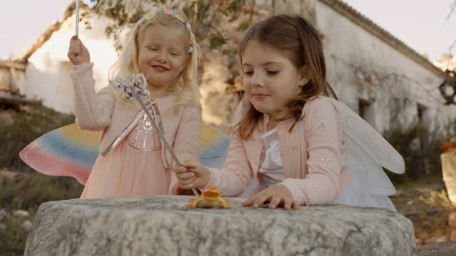 two children playing with magic wands - fairy stock videos & royalty-free footage