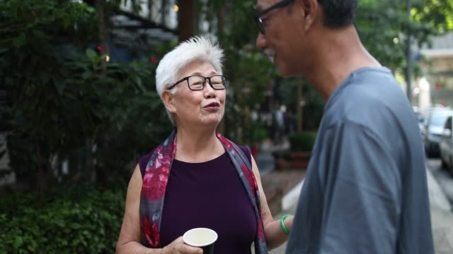 Two Chinese senior adults in the park