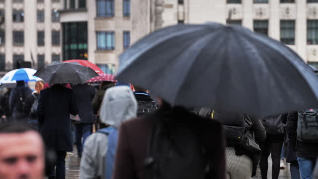 two clips of feet and commuters with umbrellas in the rain. - incidental people stock videos & royalty-free footage