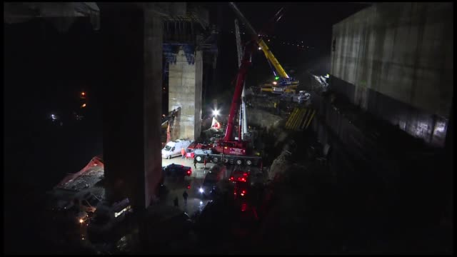 two construction workers were killed and another was rescued after being trapped under concrete rubble from a road project in northwestern turkey... - rubble stock videos & royalty-free footage