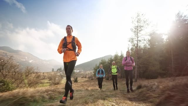 two couples running in the mountains on a sunny day in spring - quartet stock videos & royalty-free footage