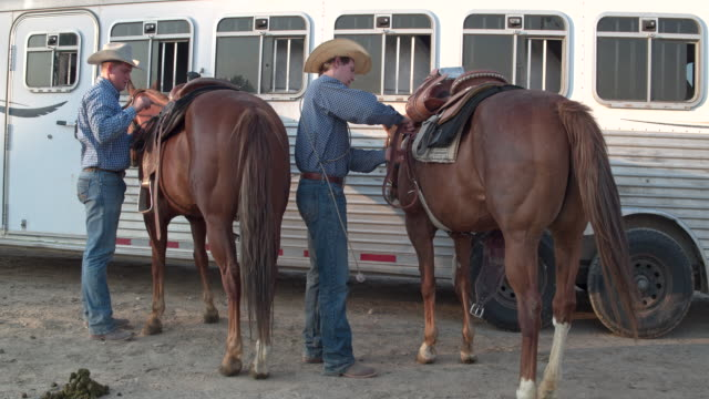 two cowboys preparing their horses to horseback riding in utah, usa - rancher stock videos & royalty-free footage