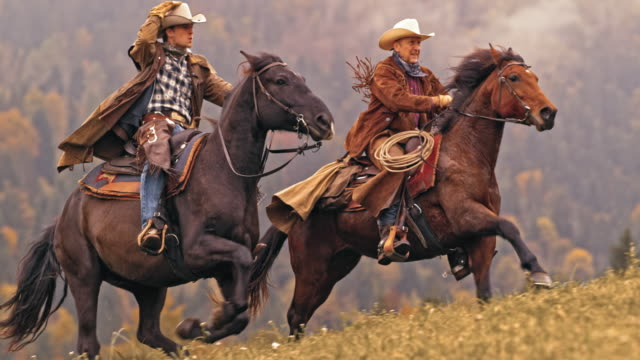 slo mo ds two cowboys riding horses in gallop - wild west stock videos & royalty-free footage