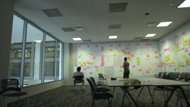 ws pan two coworkers brainstorm in creative conference room, chicago, illinois, usa - brainstorming stock videos and b-roll footage
