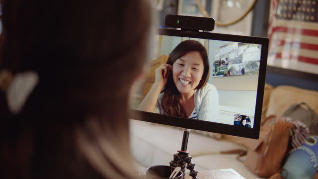 two co-workers, working from home, collaborate via videoconference from their home offices - webcam stock-videos und b-roll-filmmaterial