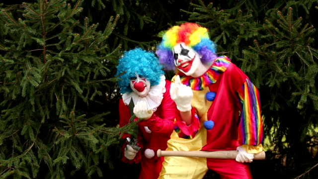 two creepy clowns with weapons - knife weapon stock videos and b-roll footage