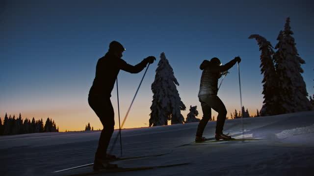 slo mo 夜にヘッドランプでトウヒの木の間をスキーする2人のクロスカントリースキーヤー - ヘッドランプ点の映像素材/bロール