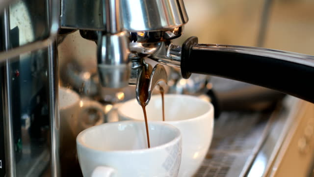 two cup of fragrant espresso, close-up - mug stock videos & royalty-free footage
