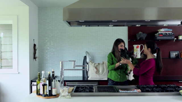 MS two daughters helping mom unpack groceries in kitchen of contemporary home