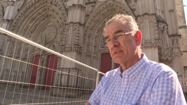 two days after the fire that damaged nantes cathedral, the investigation into the causes of the disaster is still ongoing - nantes stock videos & royalty-free footage