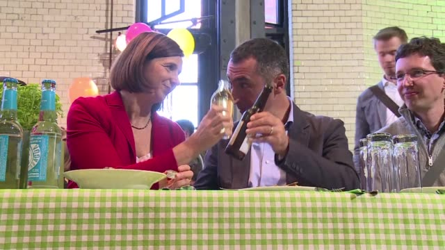 two days before the german elections the green party for now credited with about 8% of the votes organised one of its traditional pasta party where... - green party stock videos and b-roll footage