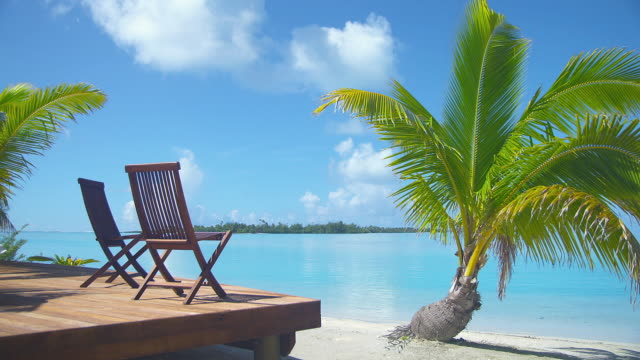 MS, Two deckchairs facing ocean, Aitutaki Lagoon, Aitutaki, Cook Islands