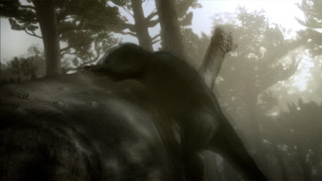 Two Deinonychuses attack a large dinosaur in a jungle in a computer-generated animation.