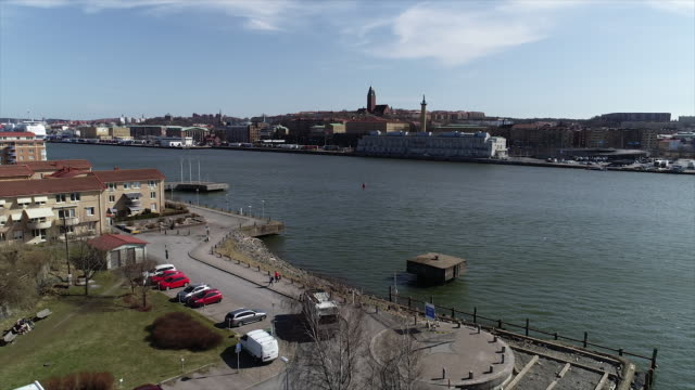 stockvideo's en b-roll-footage met two different drone shots of gothenburg in sweden - pier
