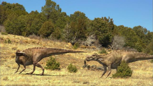 CGI, MS, Two dinosaurs walking in field