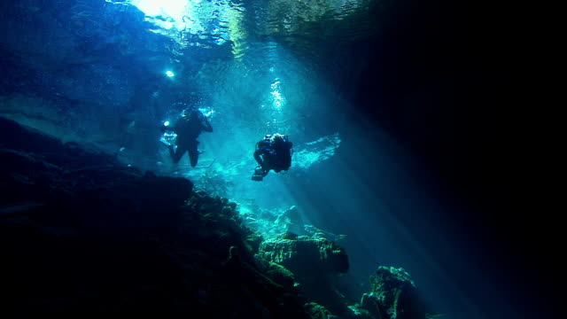 Two divers explore an underwater cave. Available in HD.