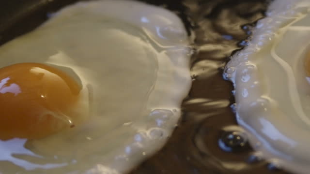 Two Eggs in the pan slow motion