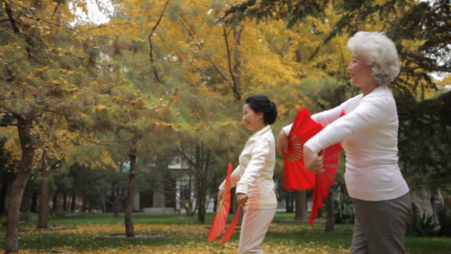 ms pan two elderly women dancing holding red fans in park / beijing, china - china east asia点の映像素材/bロール