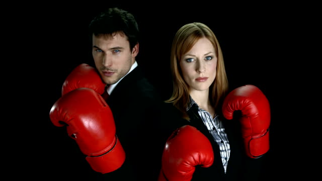 HD: Two Executives In Boxing Position