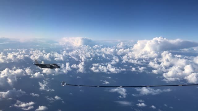 two f-35b combat aircraft from the royal air force prepare to refuel from an raf voyager aircraft over the north sea on october 08, 2020 in flight,... - refuelling stock videos & royalty-free footage