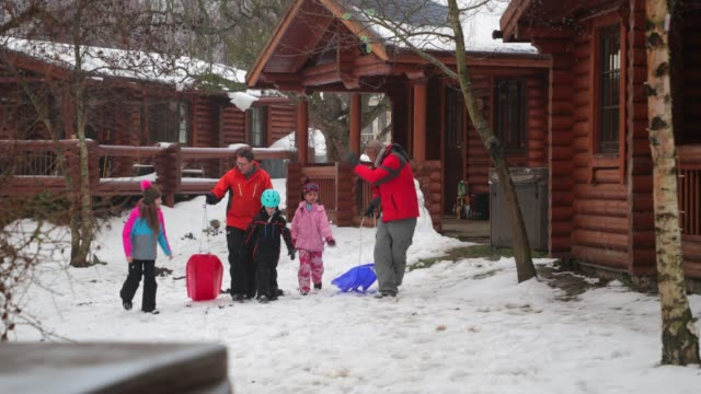two families take a walk in the snow - sledge stock videos & royalty-free footage
