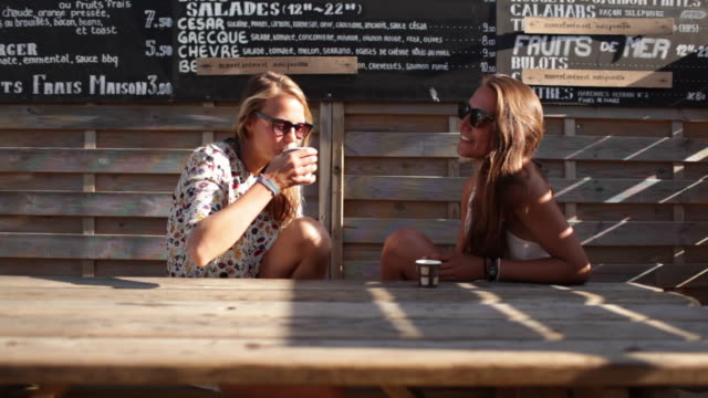 Two female friends drinking coffee at beach bar in the South of France