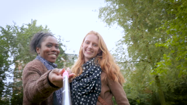 two female friends playing with a selfie stick, taking selfies - vondelpark stock videos and b-roll footage