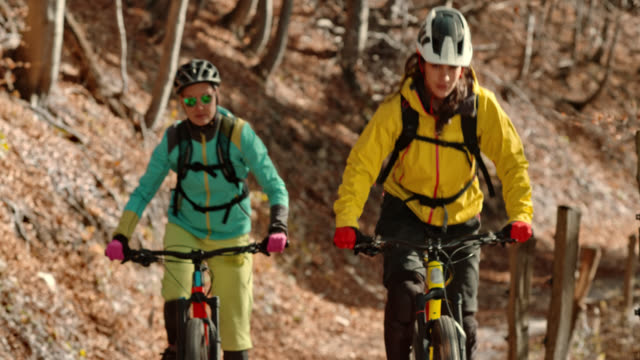 two female friends riding their mountain bikes up a forest trail in sunshine - mountain bike video stock e b–roll